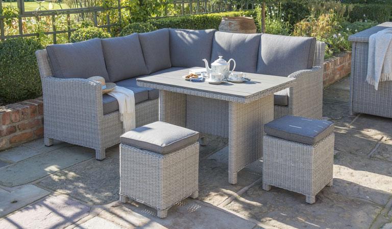 Kettler Palma Mini rattan garden furniture set on patio