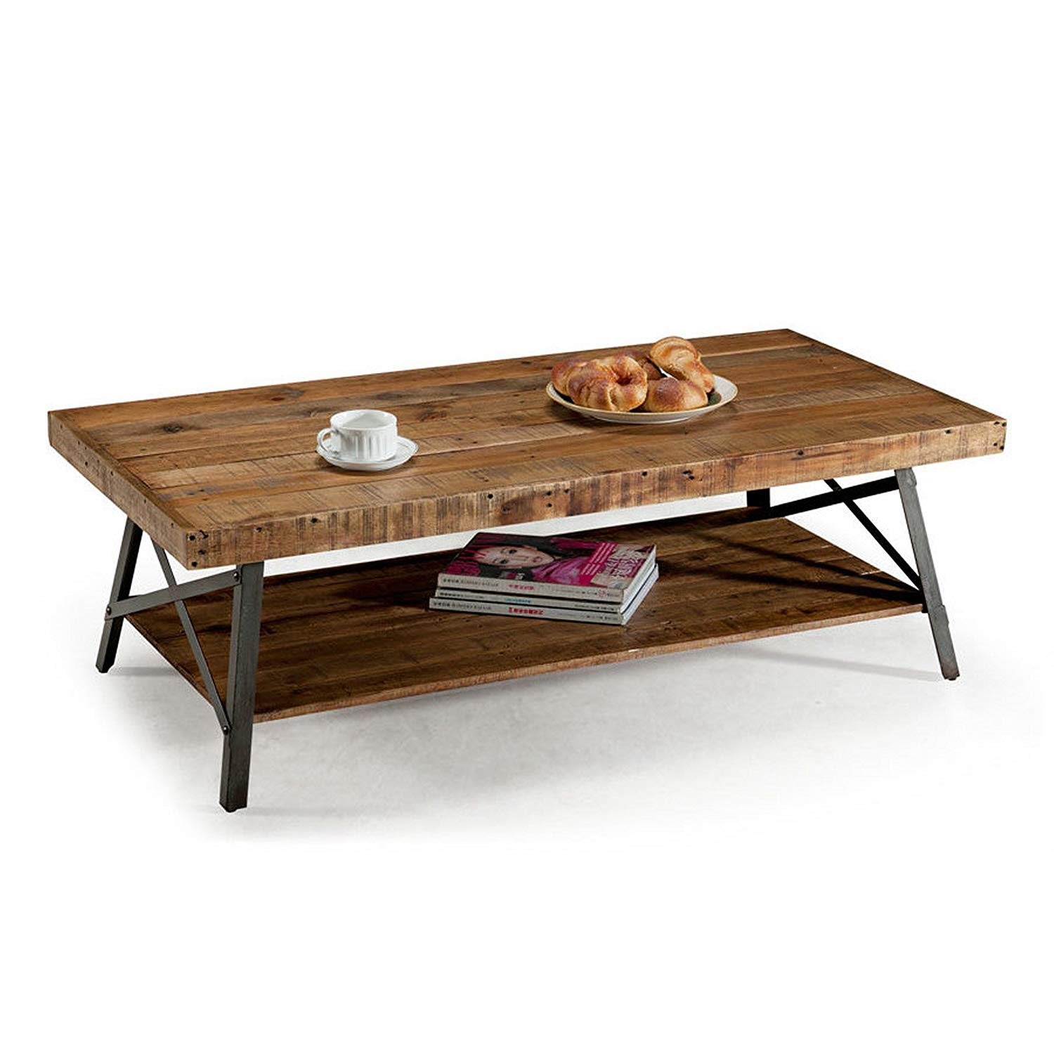 ModHaus Living Contemporary Style Rustic Reclaimed Wood Rectangle Shaped  Cocktail Coffee Table with Bottom Shelf | Metal Legs, Natural Finish,