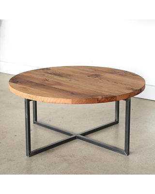 Round Coffee Table / Reclaimed Wood Metal Base Coffee Table / Industrial  Modern Coffee Table