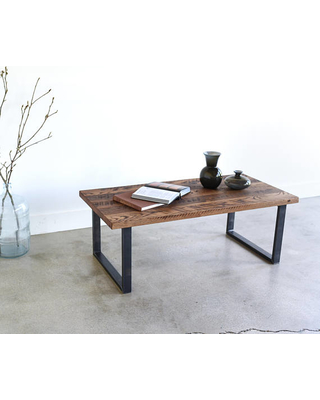 Reclaimed Wood Coffee Table / Industrial UShaped Metal Legs