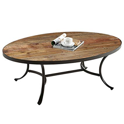 ModHaus Living Country Style Reclaimed Wood Top Oval Shaped Cocktail Coffee  Table | Metal Legs,