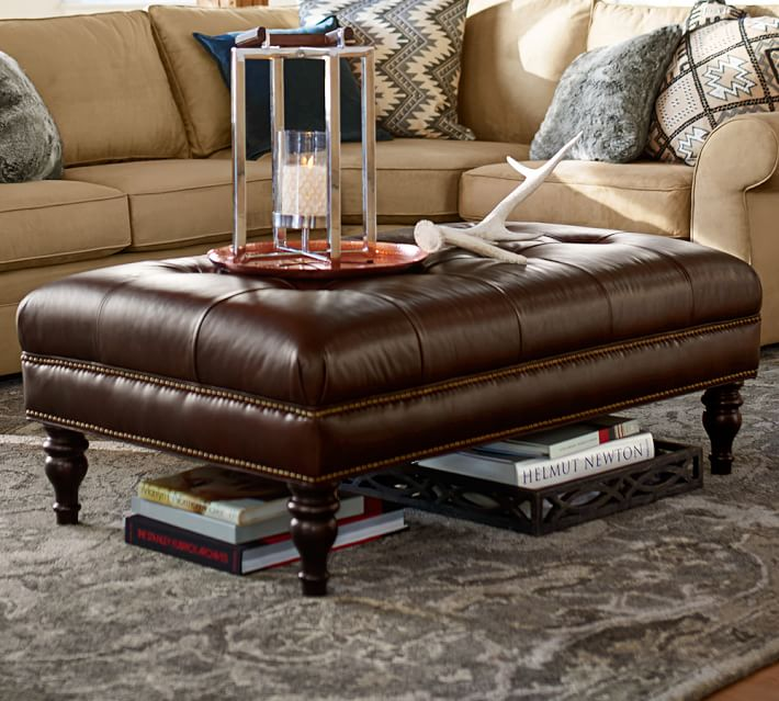 Martin Tufted Leather Ottoman | Pottery Barn