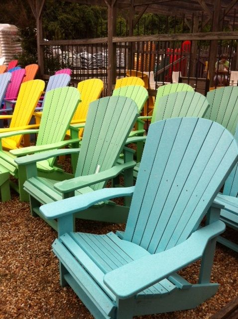 A rainbow of recycled plastic Adirondack chairs from The Cottage