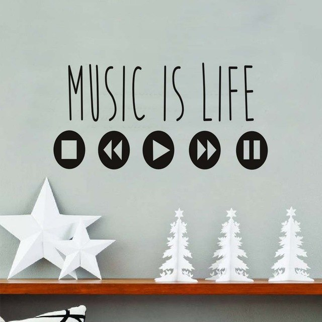 Large Size Music Is Life Theme Stickers Removable Vinyl Wall Art For Kids  Bedroom Stop Play