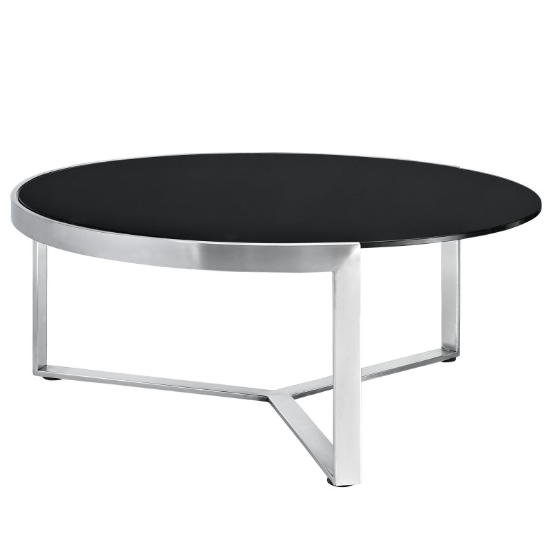 Contemporary Round Black Glass Coffee Table Disco