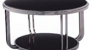 Concord Black Glass Top Round Coffee Table - Black - Inspire Q