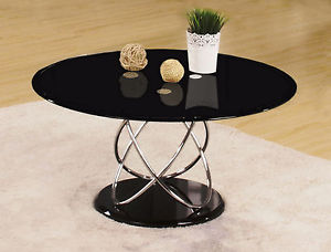 Image is loading Coffee-Table-Black-Glass-Round-Top-80cm-Chrome-