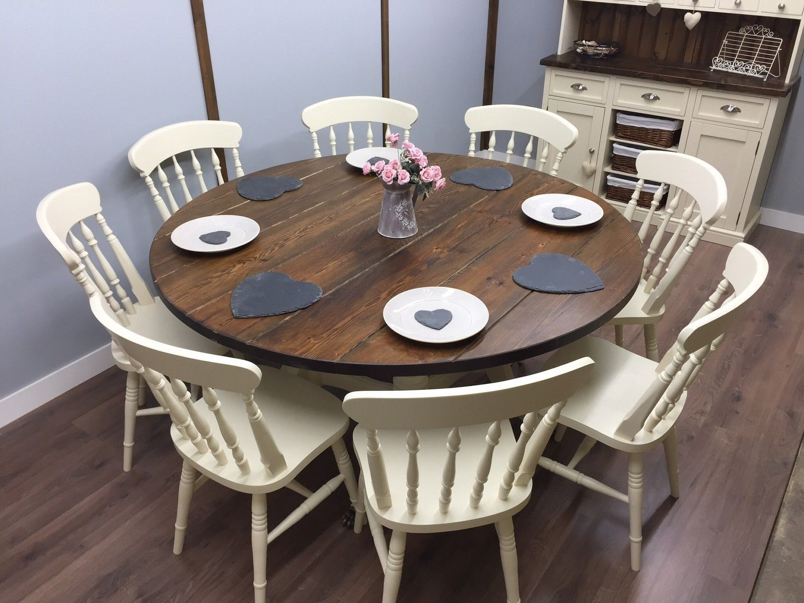 Large Round Farmhouse Table and Chairs 6,8 Seater Shabby Chic DELIVERY  AVAILABLE   eBay