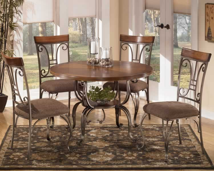 Antique Style Dining Room with 5 Pieces Round Metal Dinette Sets, White  Shades Window Blinds