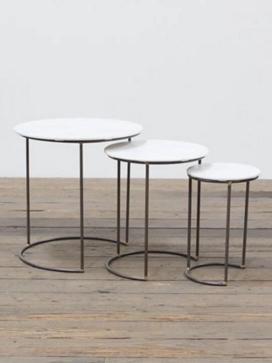Marble Round Nesting Table Set