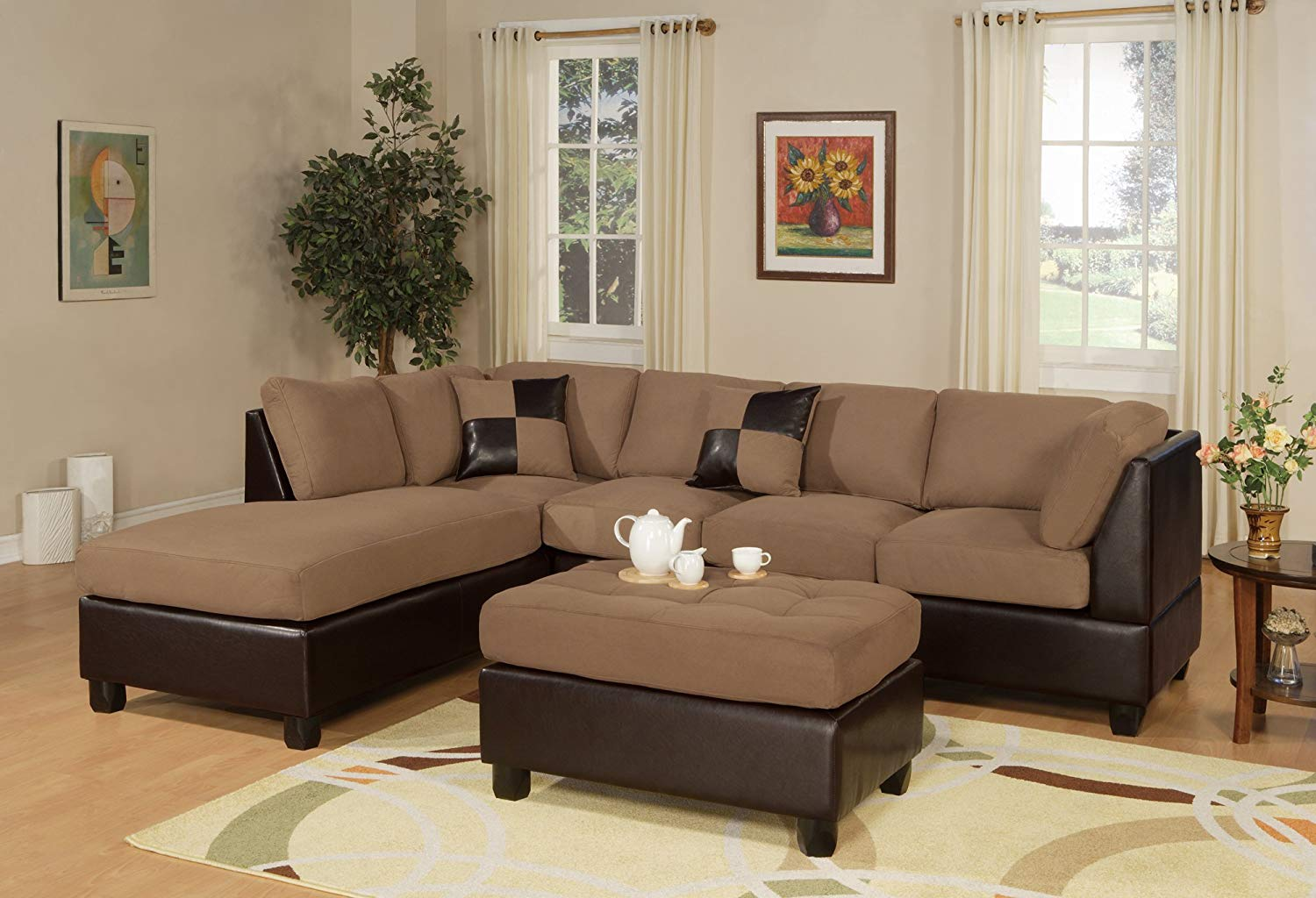Traveller Location: BOBKONA Hungtinton Microfiber/Faux Leather 3-Piece Sectional  Sofa Set, Saddle: Kitchen & Dining