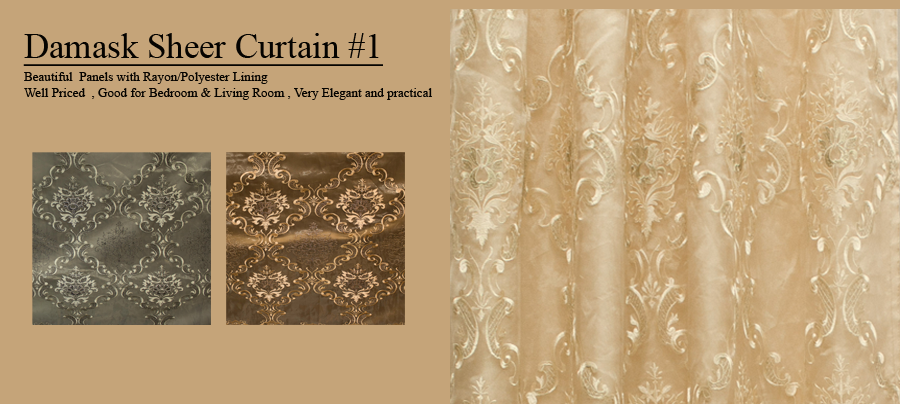 damask sheer Curtain Beautiful Panels with Rayon/Polyester Lining Well  Priced , Good for Bedroom