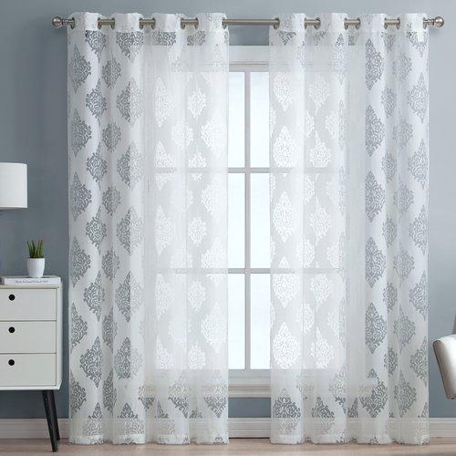 ME Adel Damask Sheer Grommet Curtain Panels (Set of 2)
