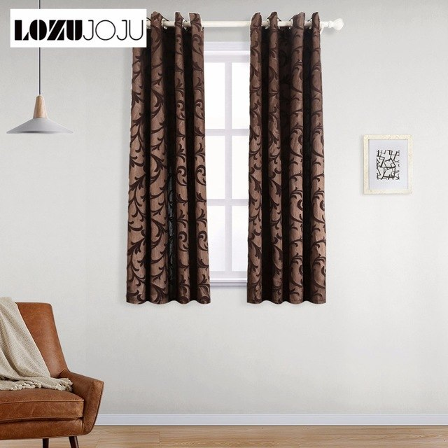 LOZUJOJU Short blackout curtains for bedroom living room thread leaves  design brown curtain drapery fabric for kitchen door