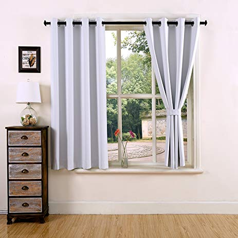 YOJA Thermal Insulated Grommet Top Window Short Blackout Curtains for  Bedroom Greyish White,52""