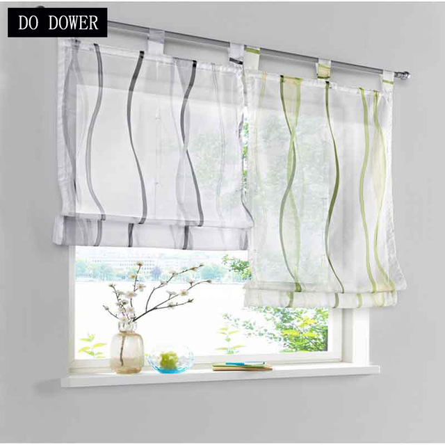 1pcs Wave Roman Curtains Tulle Vienna Light Color Sheer For Living Room  Bedroom Window Kitchen Short blackout curtain 4 color