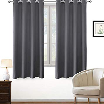 PRAVIVE Blackout Curtains for Bedroom - Thermal Insulated Grommet Privacy Short  Curtains for Small Windows/