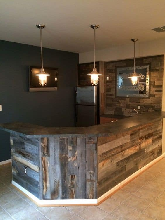 1. simple and cozy Basement bar idea