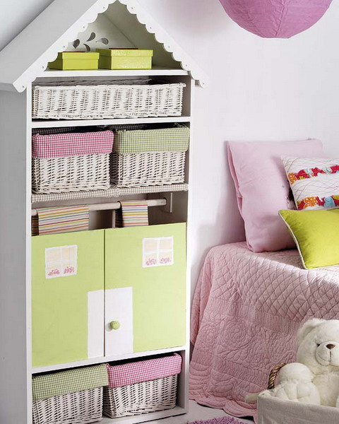 A super simple DIY hack to turn a simple shelving unit into a cute house.