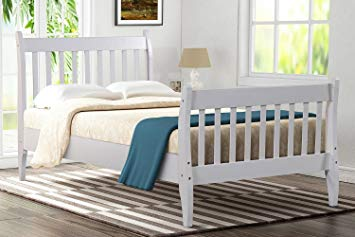 Bed Frame Twin Wood Oak,JULYFOX Modern White Bed Frame And Headboard Foot  board Bed Rails Twin 330lb Heavy Duty No Box Spring Need Anti Slip Sturdy  Single