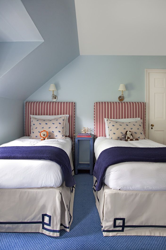 Double matching single beds in kids room design | Mona Ross Berman Interiors