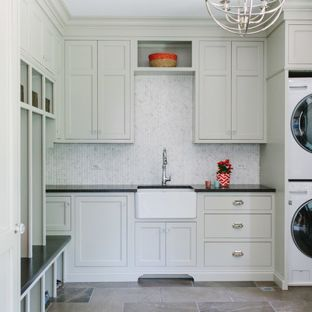 Dedicated laundry room - large transitional l-shaped marble floor and gray  floor dedicated laundry