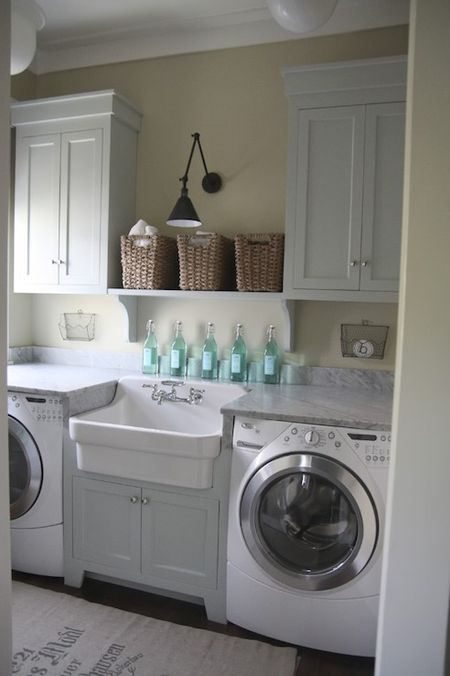 sink between washer and dryer with cabinets overhead Garden, Home and  Party: Laundry Rooms