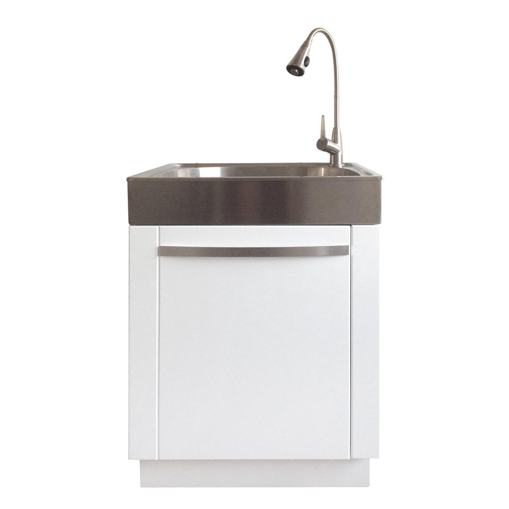 All-in-One 24.2 in. x 21.3 in. x 33.8 in. Stainless Steel Laundry/Utility  Sink and White Cabinet