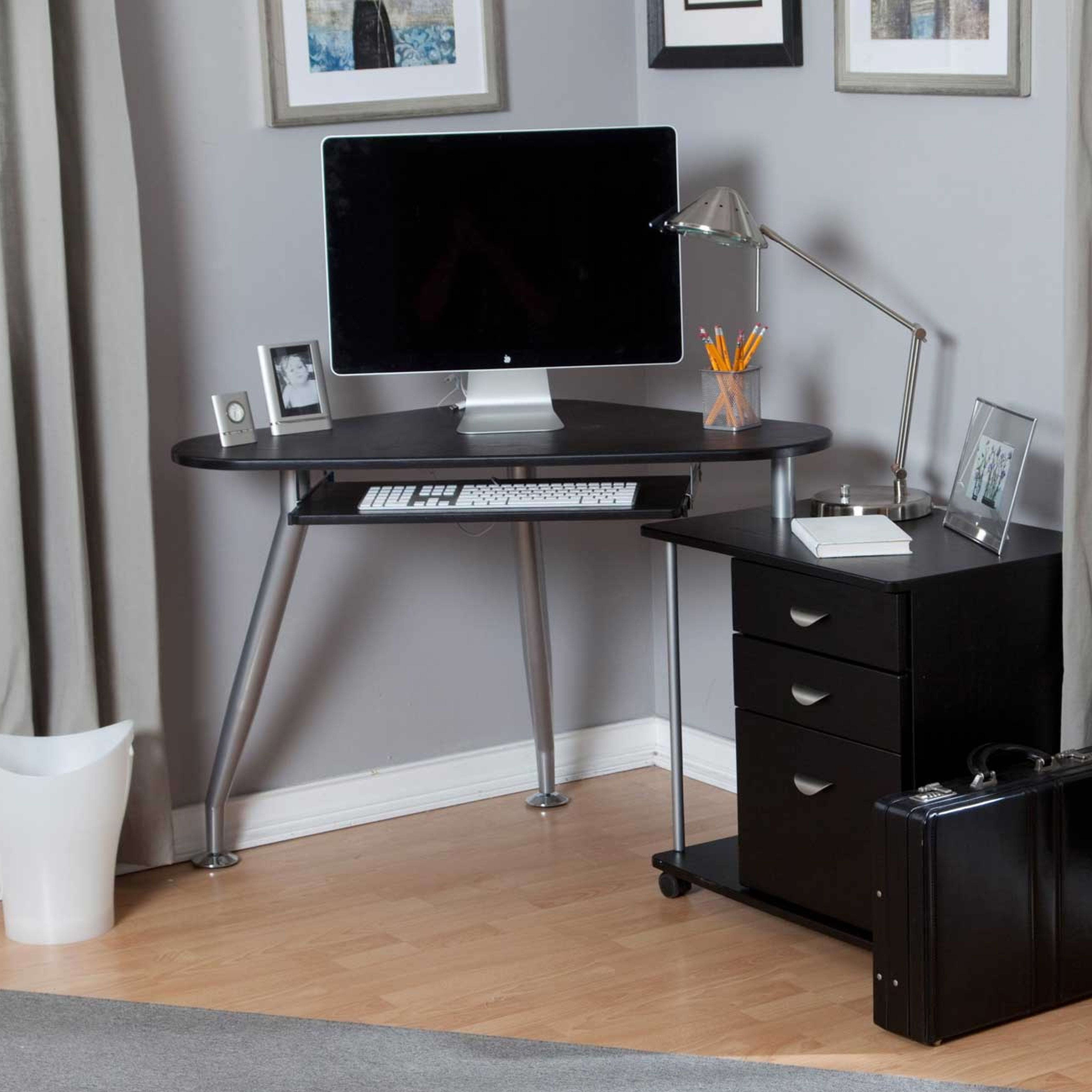 Modern Grey Painted Iron Laminated Small Corner Computer Desk Ideas With  Black Wood Storage Plus Tetured Floor