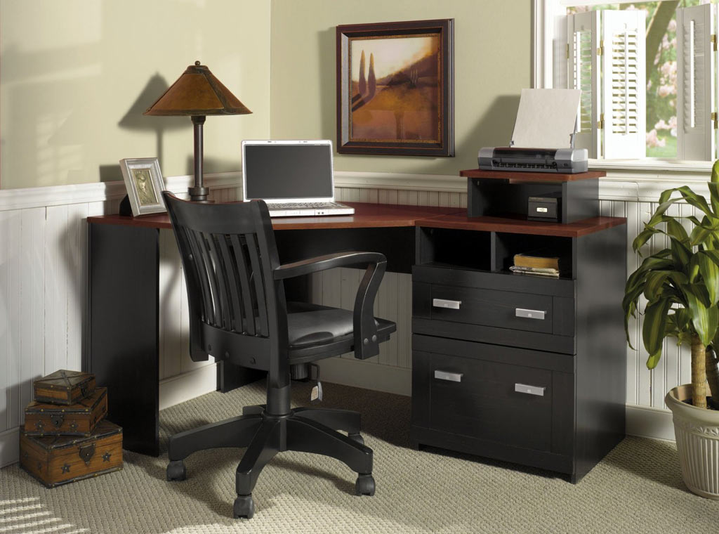 great looking wooden home office desk and chair set