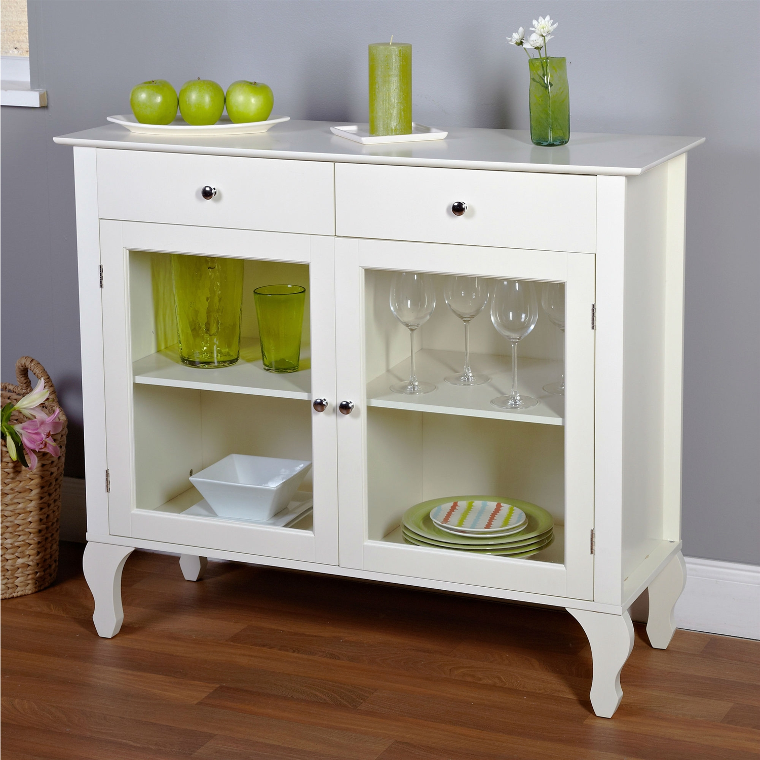 Antique White Sideboard Buffet Console Table with Glass Doors |  Traveller Location