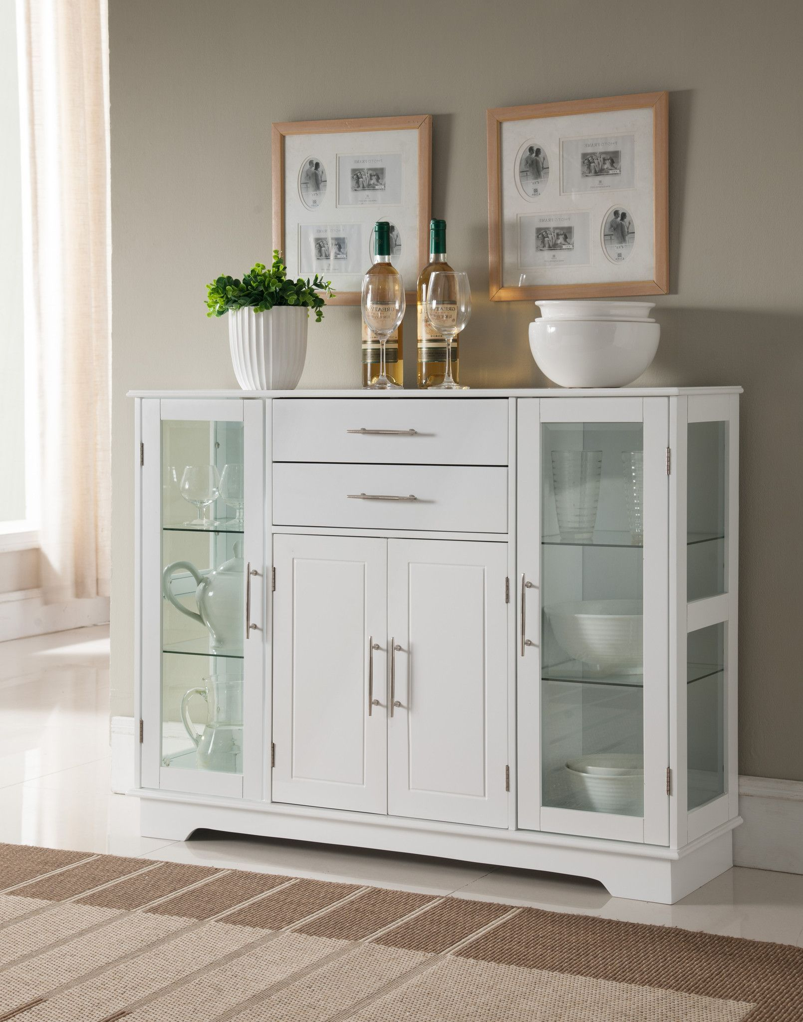 Pilaster Designs - White Wood Kitchen Storage Display Cabinet Buffet With  Glass Doors, Drawers & Storage