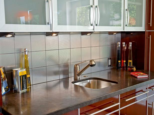 Modern Kitchen Sink With Red Cabinets