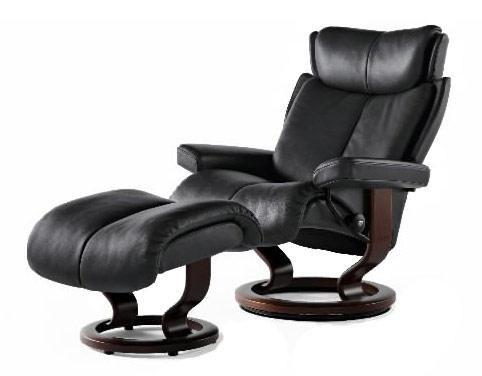 Magic Magic Small Recliner/Ottoman: Paloma Black & Teak by Stressless