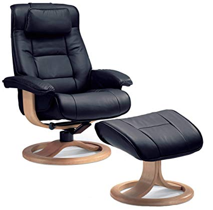Image Unavailable. Image not available for. Color: Fjords Mustang Small  Leather Recliner Chair and Ottoman