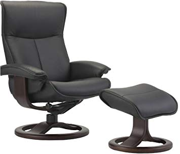 Fjords Senator Small Leather Recliner and Ottoman - Norwegian Ergonomic  Scandinavian Reclining Chair in Soft Line