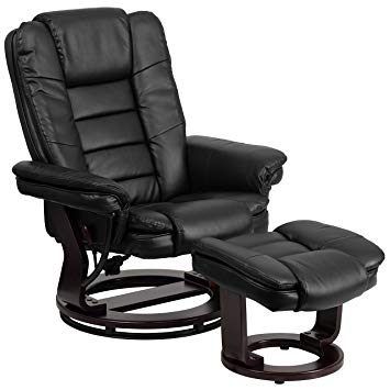 Image Unavailable. Image not available for. Color: Flash Furniture  Contemporary Black Leather Recliner and Ottoman
