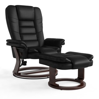 Copper Grove Gunnison Contemporary Leather Recliner and Ottoman with  Swiveling Mahogany Wood Base