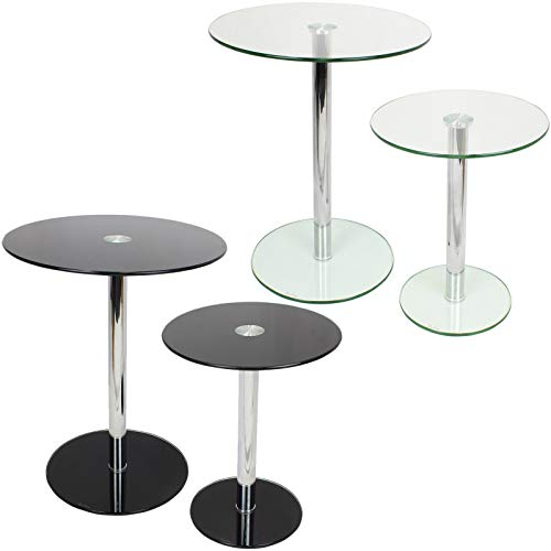 Hartleys Set of 2 Large & Small Round Glass Tables
