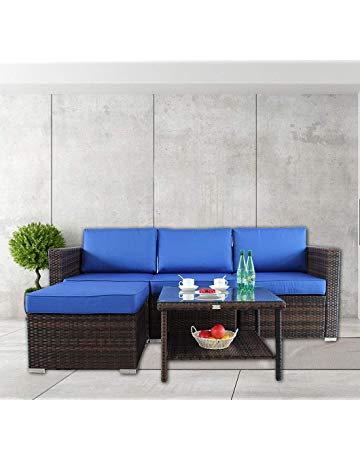 Patio Furniture Rattan Sofa Outdoor Sofa Set Garden Patio Sectional Sofa  Couch Cushioned Chair Conversation Sets