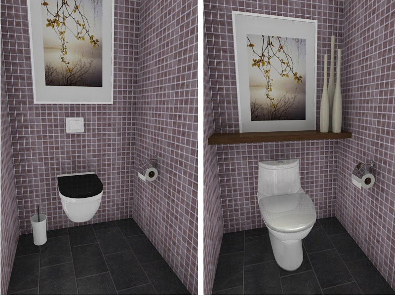Small Bathroom with Wall Mounted Toilet & Shelving