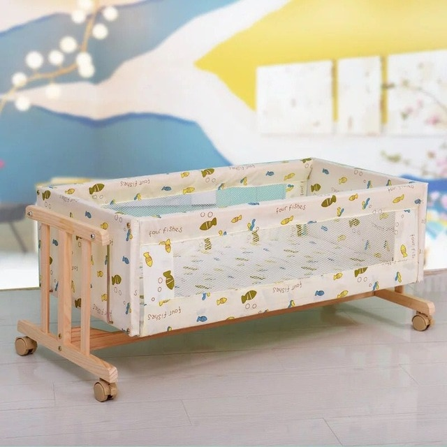 Solid wood I shaped small sized logs Cradle bed Removable with