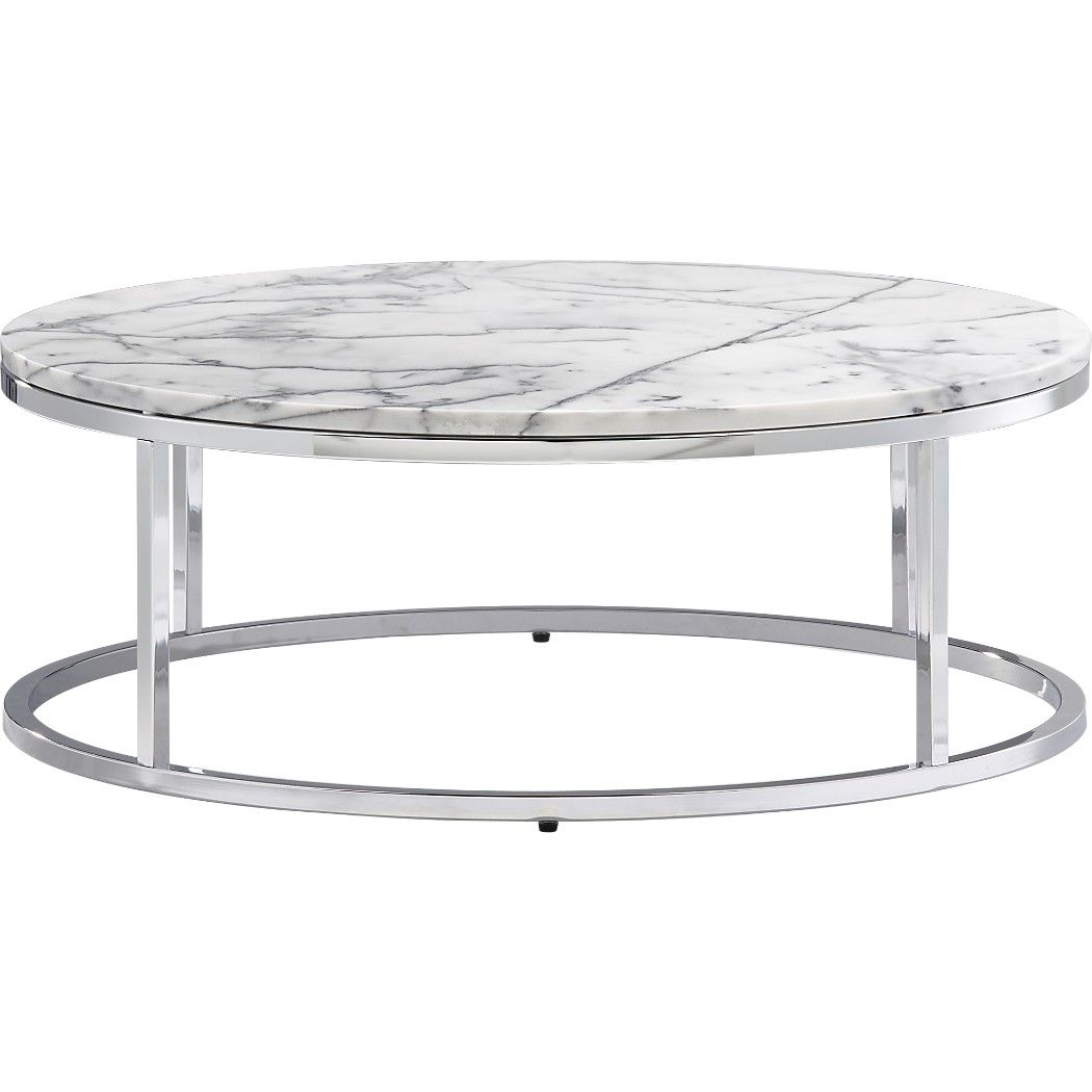 Shop smart round marble top coffee table. Open cylinder construction of  slick polished chrome tops out in Carrara-style white/grey marble.