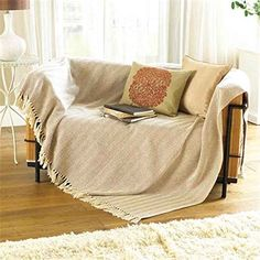 Natural Beige Sofa Throw