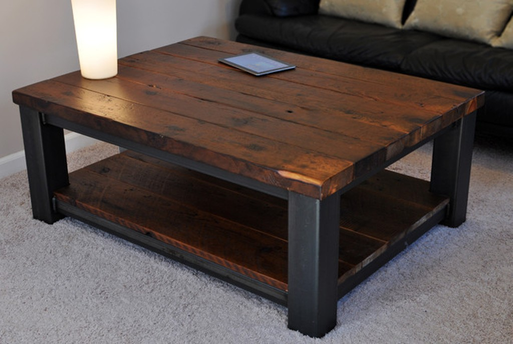 Coffee Table, Cool Dark Brown Square Modern Metal And Wood Rustic Coffee  Table With Storage