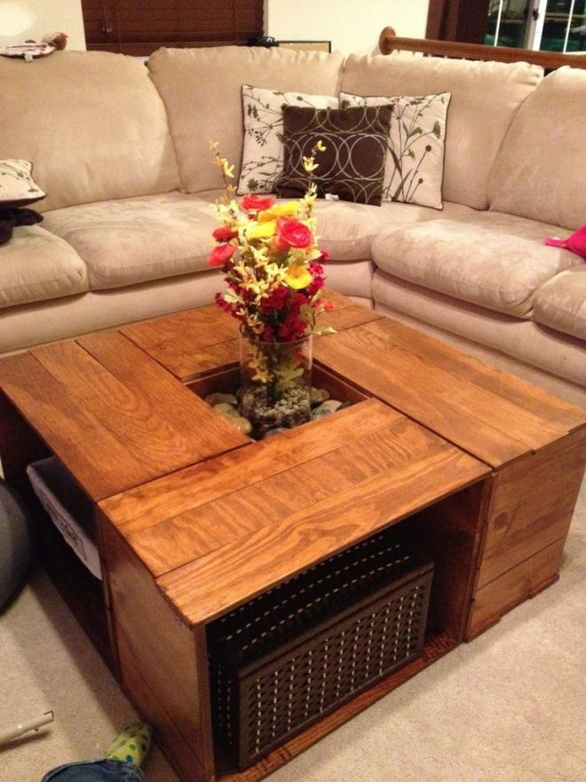 interesting brown square unique wood coffee table storage stained ideas