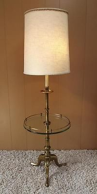 Vintage MID CENTURY MODERN Stiffel Brass Floor Lamp w/Glass Table. Had  these too.