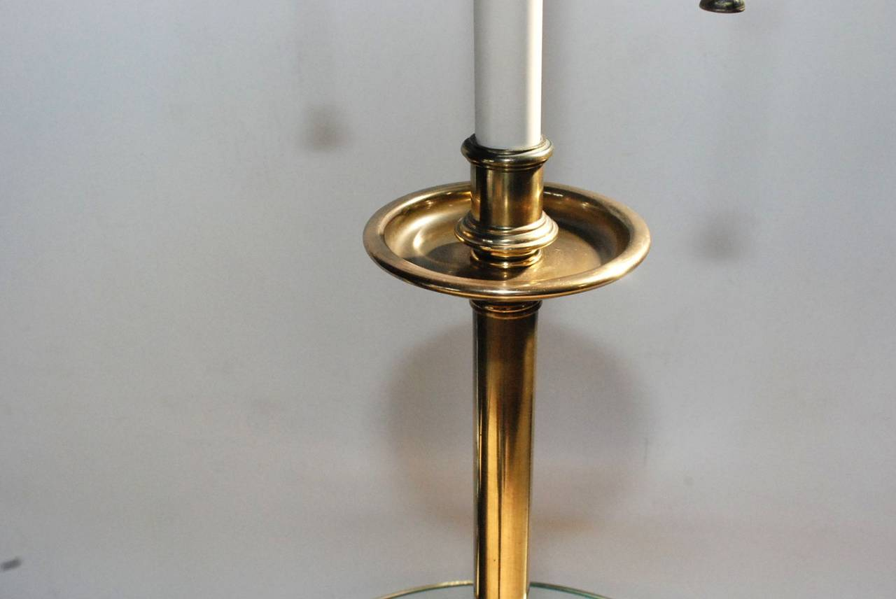 Polished Amazing Stiffel Brass and Glass Table Lamp For Sale
