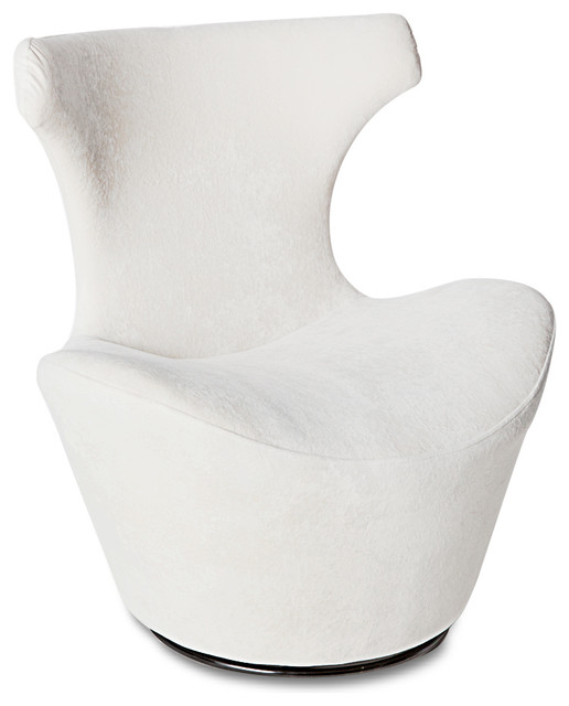 Wedge Modern Swivel Occasional Chair, White