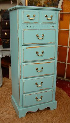 Reclaimed Vintage 6 Dr Covington Blue Pottery Barn Paint Shabby Chic Lingerie  Tall Dresser Chest of